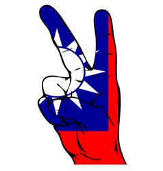 Peace sign of the taiwan flag vector