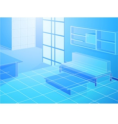 Wireframe blue living room vector