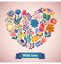 Love card with floral bouquet vector