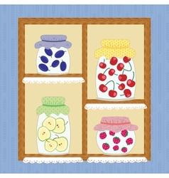 Winter homemade jelly cherry apple strawberry jam vector