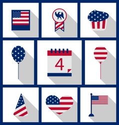 Icons set usa flag color independence day 4th of vector