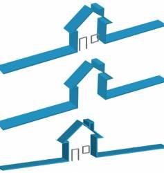 Ribbon 3d house vector