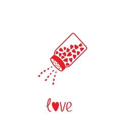 Salt shaker with hearts inside card vector