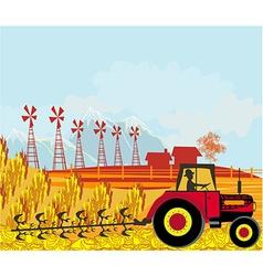 Farmer plows the field vector