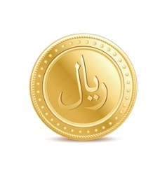 Golden arabic riyal coin on the white background vector