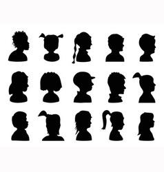 Children profile silhouettes vector