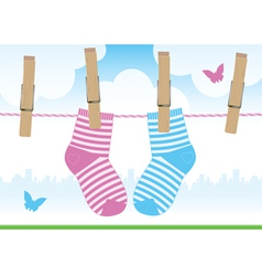 Clothespins socks vector