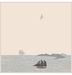 Vintage seascape with ships mountain bird vector