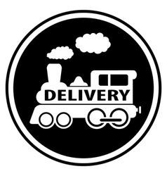 Railway delivery symbol with train vector