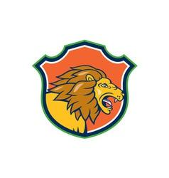 Angry lion head roar shield cartoon vector