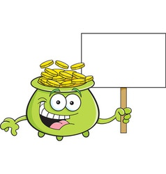 Cartoon pot of gold holding a sign vector