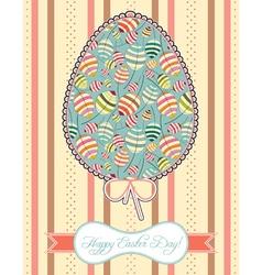 Floral composition in easter egg vector
