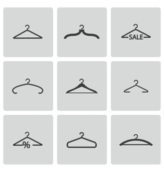 Black hanger icons set vector
