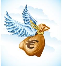Flying sack of euro money vector