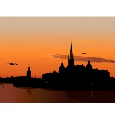 Silhouette of stockholm at sunset vector