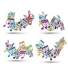 Music notes on staves vector