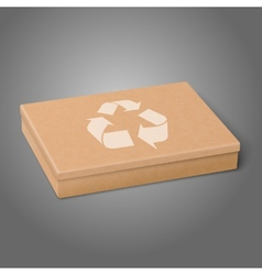Realistic craft flat package box with recycling vector