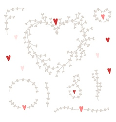 Hand drawn set with wreaths and red hearts vector