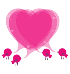 Birds with speech bubble heart vector