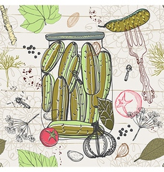 Pickled cucumbers seamless pattern vector