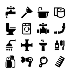 Bathroom icons set on white background vector