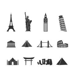 World landmarks black and white icons set vector