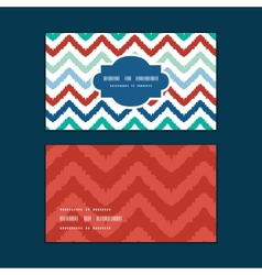 Colorful ikat chevron horizontal frame pattern vector