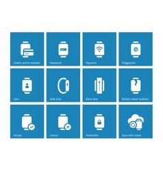Payment with smart watch icons on blue background vector