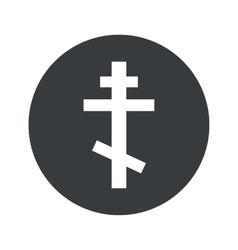 Monochrome round orthodox cross icon vector