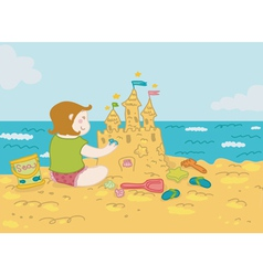Girl and sandcastle vector