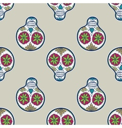 Seamless pattern with sugar skull vector