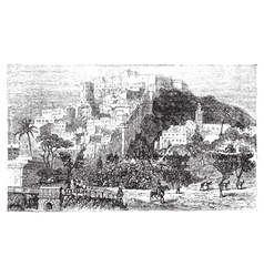 Algiers city vintage engraving capital of algeria vector