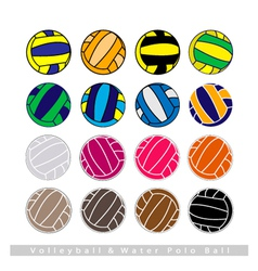 Collection of volleyball balls on white background vector