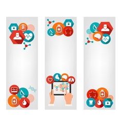 Three medical banners with colorful icons vector