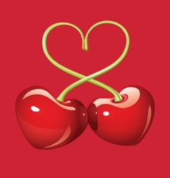 Glossy cherry hearts vector