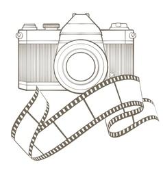 Retro photo camera with vignette vector
