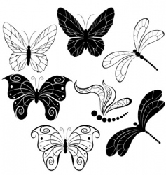 Silhouettes of butterflies and dragonflies vector