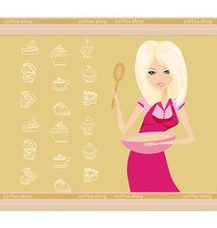 Beautiful lady cooking dessert vector