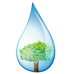 A tree inside the water drop vector