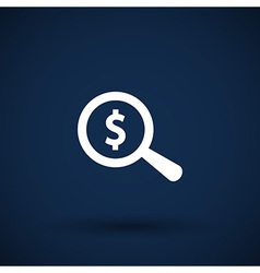 Magnifier with dollar sign money business sign vector