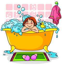 Kid in the bath vector