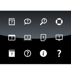 Help and faq icons on black background vector