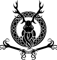 Druid symbol with antlers in celtic circle vector