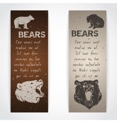 Set of bear banners vector