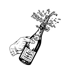 Bottle of champagne in hand vector