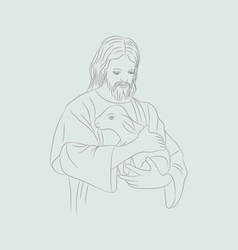 Jesus with sheep vector