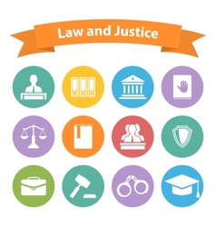 Set of flat law and justice icons vector
