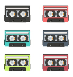 Collection of retro audio tapes isolated on white vector