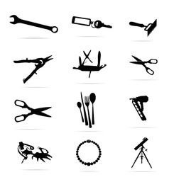 Black silhouettes of tools symbols set vector