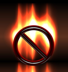 Burning warning prohibition sign vector